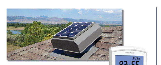 Attic Breeze AB-252A solar attic fan in weatherwood gray powder coated finish. & Authorized Attic Breeze Solar Attic Fan Installer